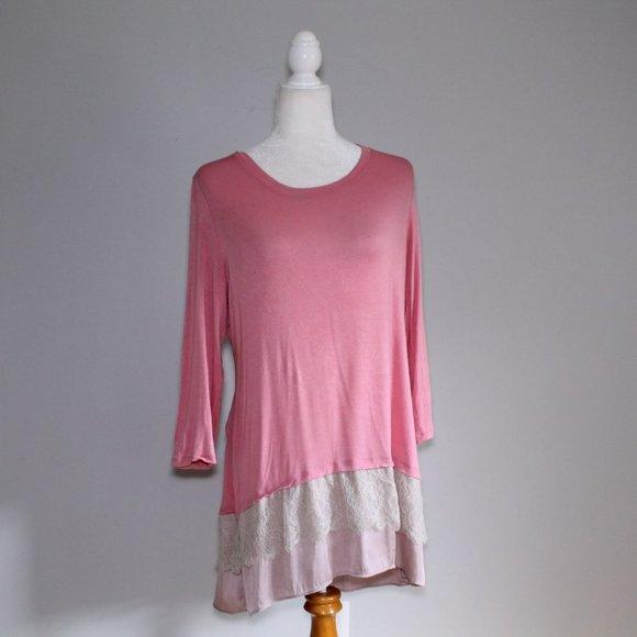 Logo Pink Tiered Tunic Dress Sz M